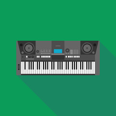 synthesizer icon with long shadow. flat style vector illustratio