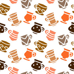 Seamless pattern with tea, coffee cups