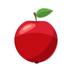 Fresh red apple icon, cartoon style