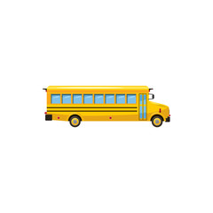 Yellow school bus icon, cartoon style