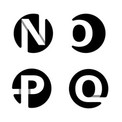 Capital letters N, O, P, Q. From white stripe in a black circle.  Overlapping with shadows. Logo, monogram, emblem trendy design.