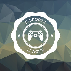 gaming badge on trendy triangle background