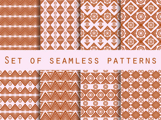 Set the texture seamless in ethnic style. Tribal seamless texture. Seamless pattern in hippie style. For wallpaper, bed linen, tiles, fabrics, backgrounds. Vector illustration.