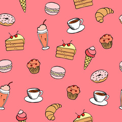 Cafe food graphic art pink color seamless pattern illustration vector
