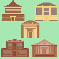 Set of building icons. Polygonal style skyscraper