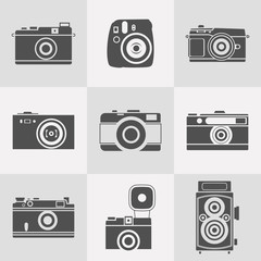 retro cameras silhouettes icon set. flat style vector illustration