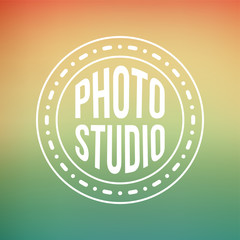 photography studio label on abstract background