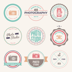 vector set of photography studio logos, badges and labels. logotype templates