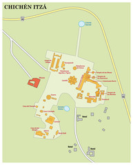 map of maya ruin site Chichen Itza on the Yucatan peninsula, mexico