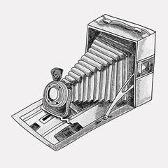 Retro camera. Black and white sketch illustration