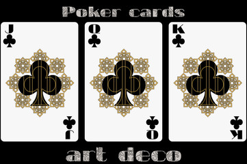 Poker playing card. Jack clubs. Queen clubs. King clubs. Poker cards in the art deco style. Standard size card.