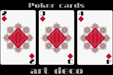 Poker playing card. 2 diamond. 3 diamond. 4 diamond. Poker cards in the art deco style. Standard size card.