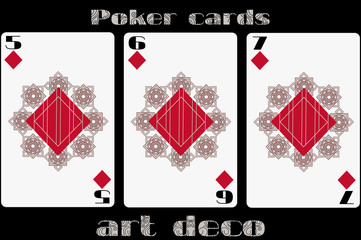 Poker playing card. 5 diamond. 6 diamond. 7 diamond. Poker cards in the art deco style. Standard size card.