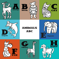 Cartoon doodle animals: antelope, bear, cat, dolphin, elephant, fox, giraffe, horse. Parts of animals alphabet, letters a-h.