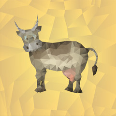 Cow made of polygons in the background. Illustration for children. Vector illustration