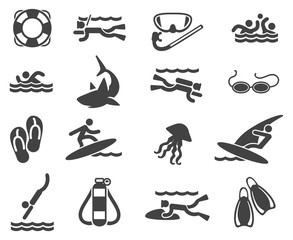 Sea Beach Swimming Pictograms. Swimming and scuba diving icons. Vector illustration