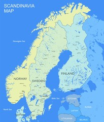 Detailed Scandinavia map Vector political Scandinavia countries map