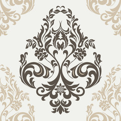 Vector floral damask ornament pattern. Elegant luxury texture for textile, fabrics or wallpapers backgrounds. Beige colors