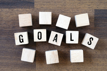 Goals word on wooden cubes, business concept