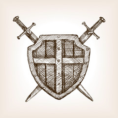 Shield and sword sketch style vector illustration