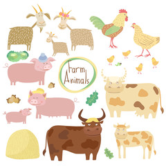Cute farm animals on white background, vector illustration. Cartoon cow, horse, pig, chicken and other animals.