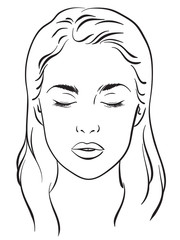 Beautiful woman with closed eyes portrait. Face chart Makeup Artist Blank Template. Vector illustration.