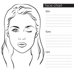Beautiful woman with one eye closed. Face chart Makeup Artist Blank Template. Vector illustration.