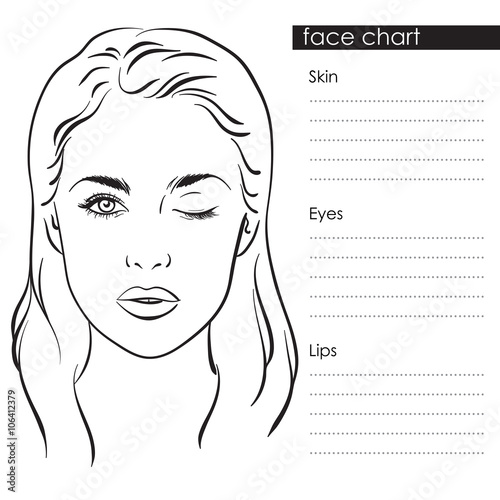 Beautiful woman with one eye closed face chart makeup artist blank beautiful woman with one eye closed face chart makeup artist blank template vector illustration maxwellsz