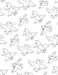 Seamless vector pattern with birds