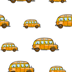 Baby bright cartoon bus vector seamless pattern on white background.