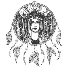 Hand drawn illustration of american indian girl and dream catcher