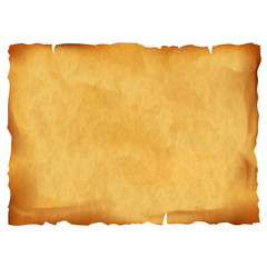 Old parchment isolated on white background