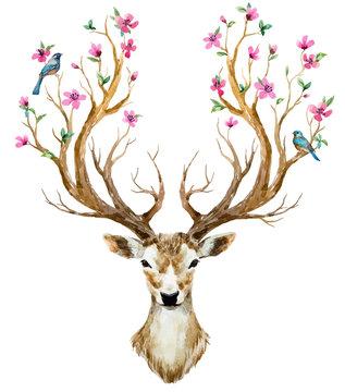 Deer Head Floral Deer Head Tribal Nursery Print Deer Antler Boho Skull Print Boho Wall Art Deer Decor Deer Skull Deer head Wall Art