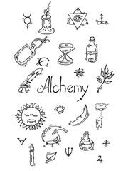 Alchemy symbols bw