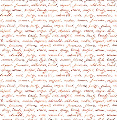 Vintage hand written letter - fashion and beauty seamless text. Repeating pattern, handwritten words background
