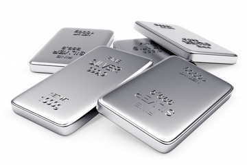 Banking concept. Heap of flat silver bars isolated on a white background.