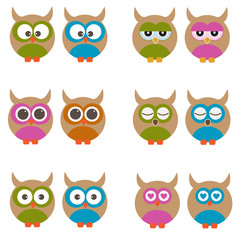 Set of vector owls.
