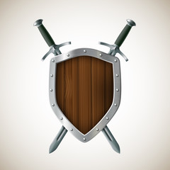 Icon Two sword and shield. Heraldic sign. Coat of arms.