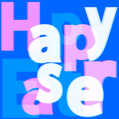 Happy Easter text with 3d effect, background pastel tones, vecto