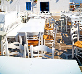 table in santorini europe greece old restaurant chair and the su