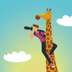 Safari. Photographer with a giraffe
