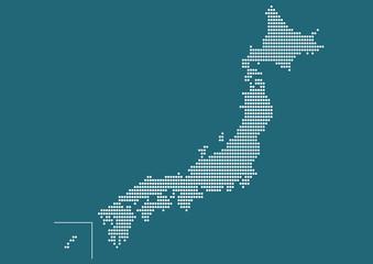 日本地図 ドット イラスト 青