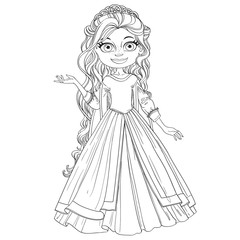Beautiful young princess with long hair outline