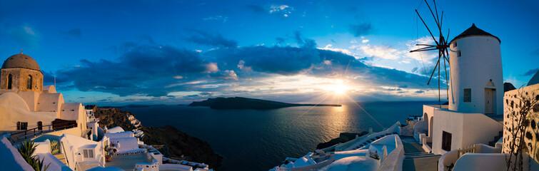 Famous beautiful Oia village on a summer morning, Santorini isla