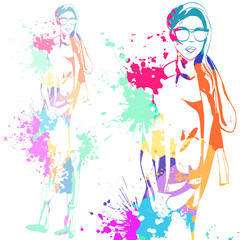 fashion look girl with color splashes