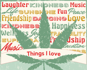 Things that I love Cannabis Leaf personalizing marijuana with feelings