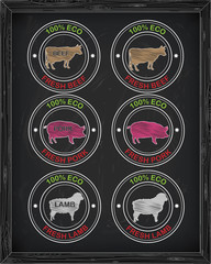 beautiful beef  icon, pork, lamb
