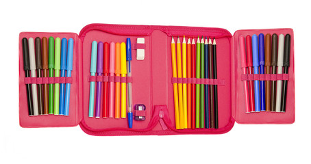 A set of colored pencils and felt-tip pens with pen and eraser in a pencil case