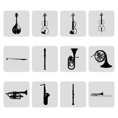 String and wind musical instruments simple icons set