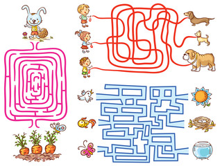 Labyrinth games set for preschoolers: find the way or match elements